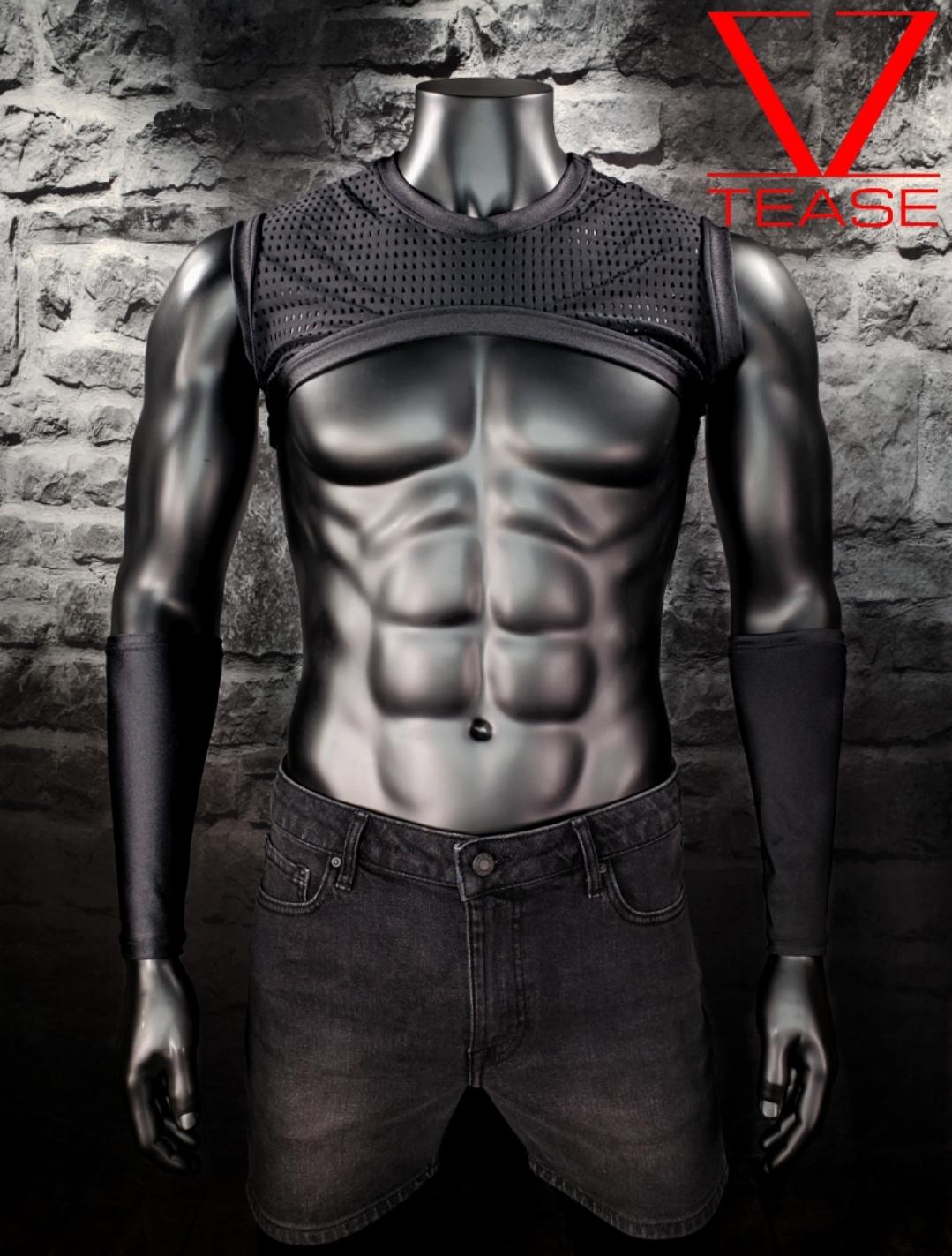 Black Athletic Sleeveless Men's Crop Top