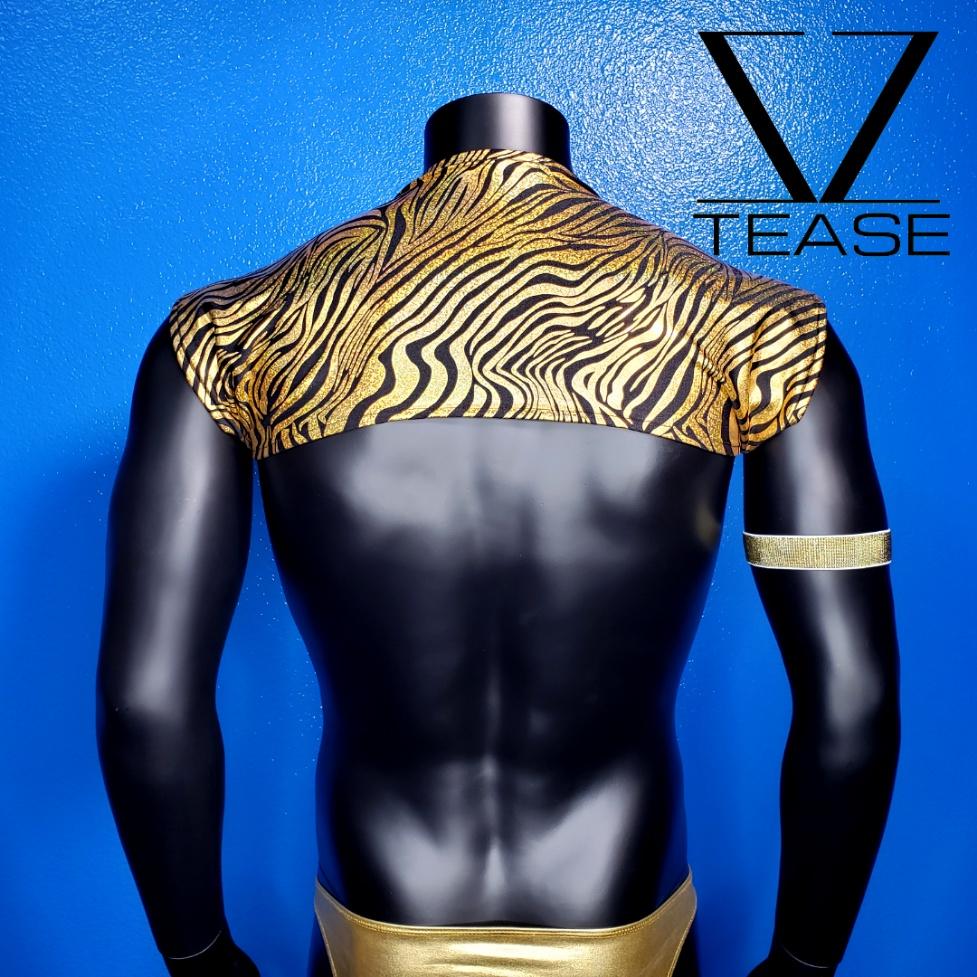 Black Gold Zebra Sparkle Shoulder Shrug