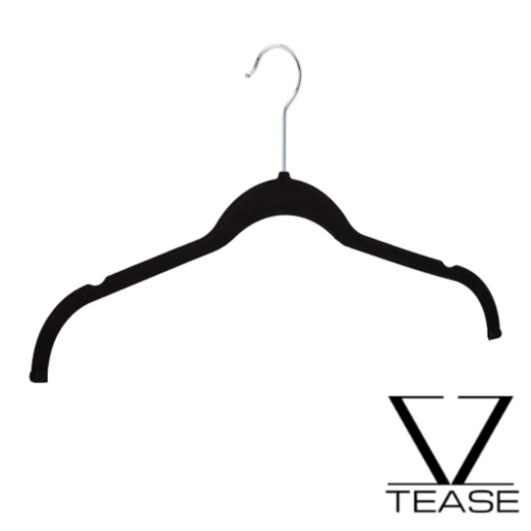 Slim Open Black Velvet Non Slip Hanger