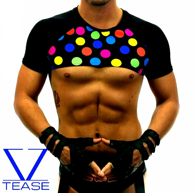 Circus Dots Crop Top Mens Clubwear