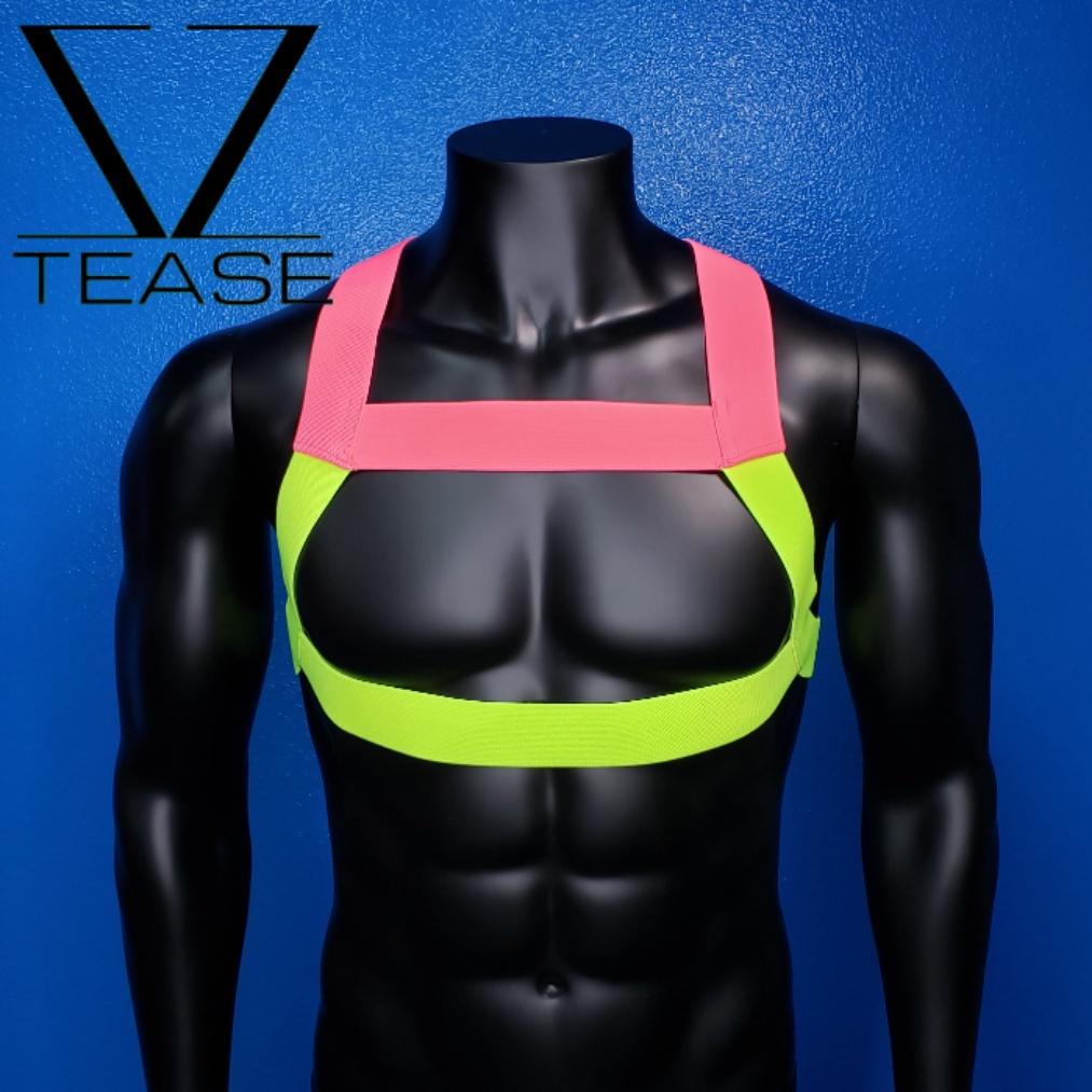 Duo Pink Chartreuse Bouncer Chest Mens Harness
