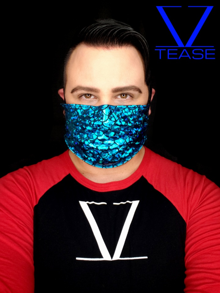 COVER UP FACE MASK TURQUOISE MERMAN SCALES