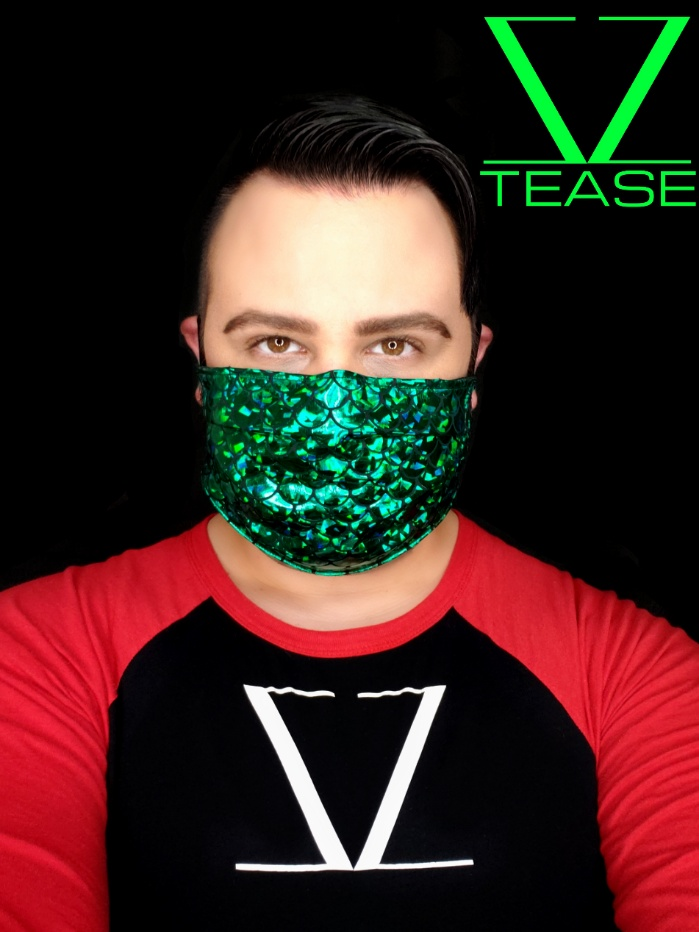 COVER UP FACE MASK GREEN MERMAID SCALES