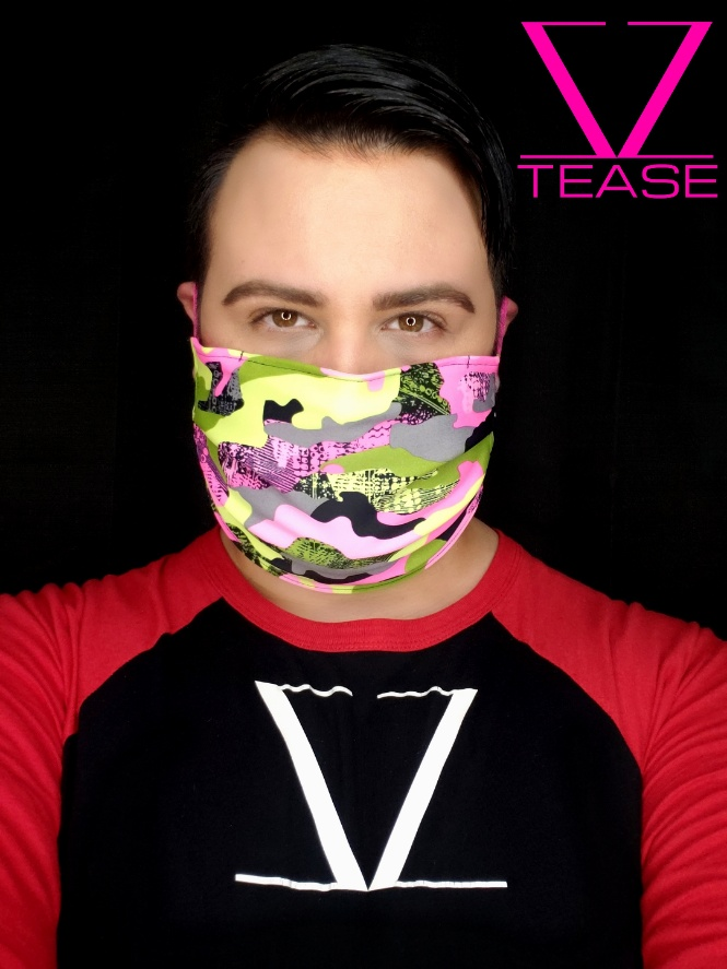 COVER UP FACE MASK PINK CAMOUFLAGE ABSTRACT