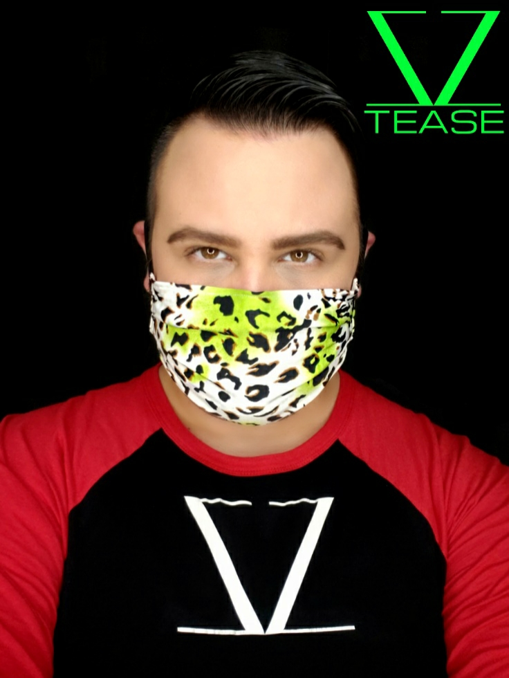 COVER UP FACE MASK WHITE LEOPARD LIME