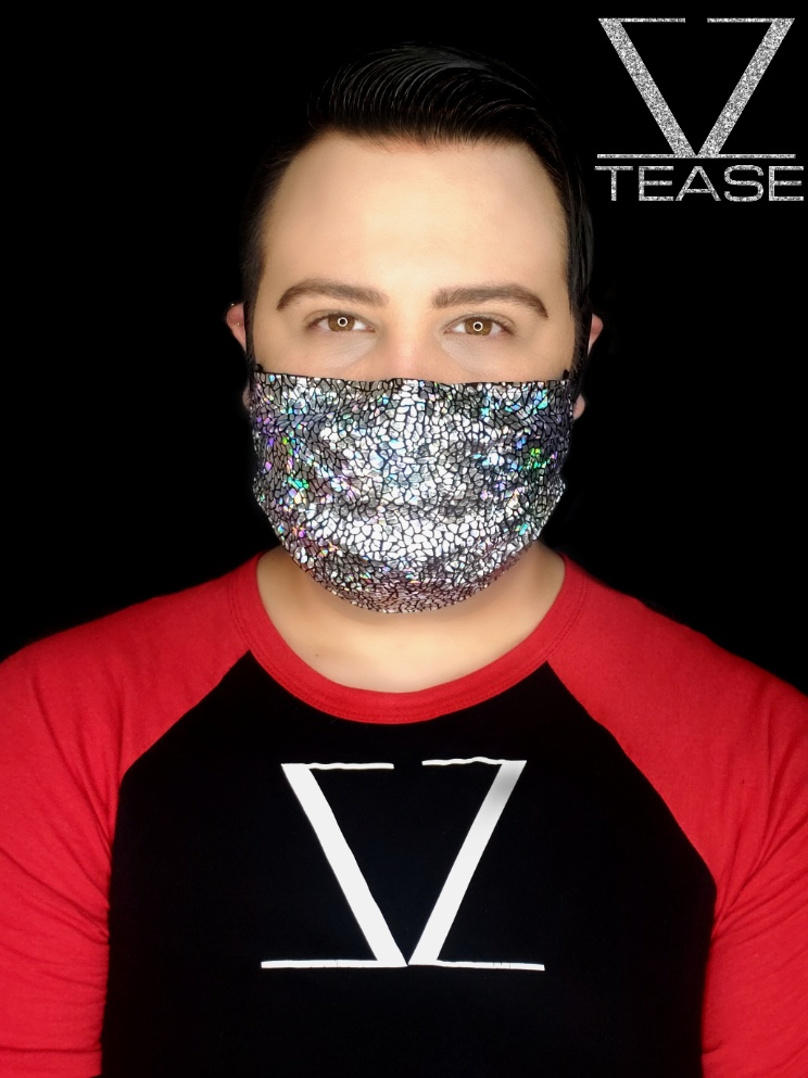 FACE MASK Silver Iridescent Crackle