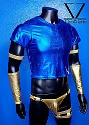 Genie Blue Metallic Men's Short Crop Tee