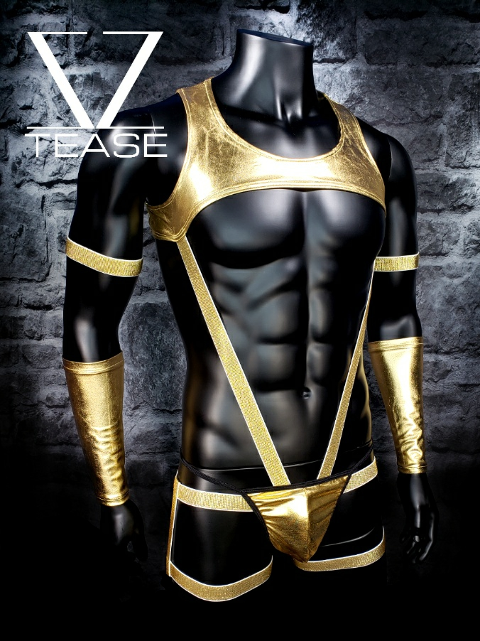 Gold Metallic Deputy Chief Men's Body Harness