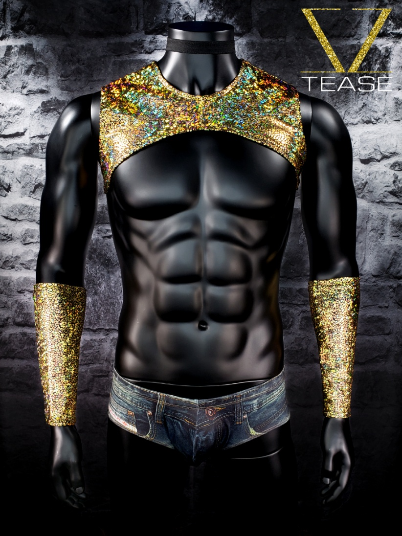 Gold Iridescent Crackle Sleeveless Men's Crop Top