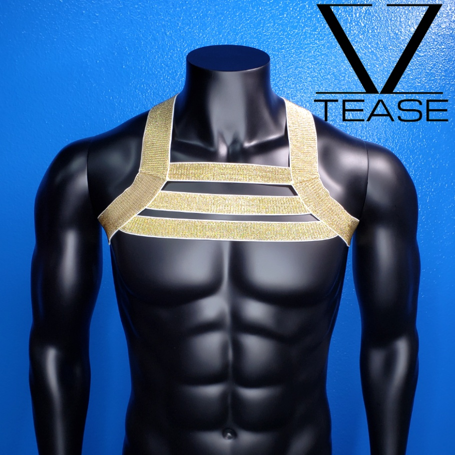 Gold Triple Chest Men's Harness