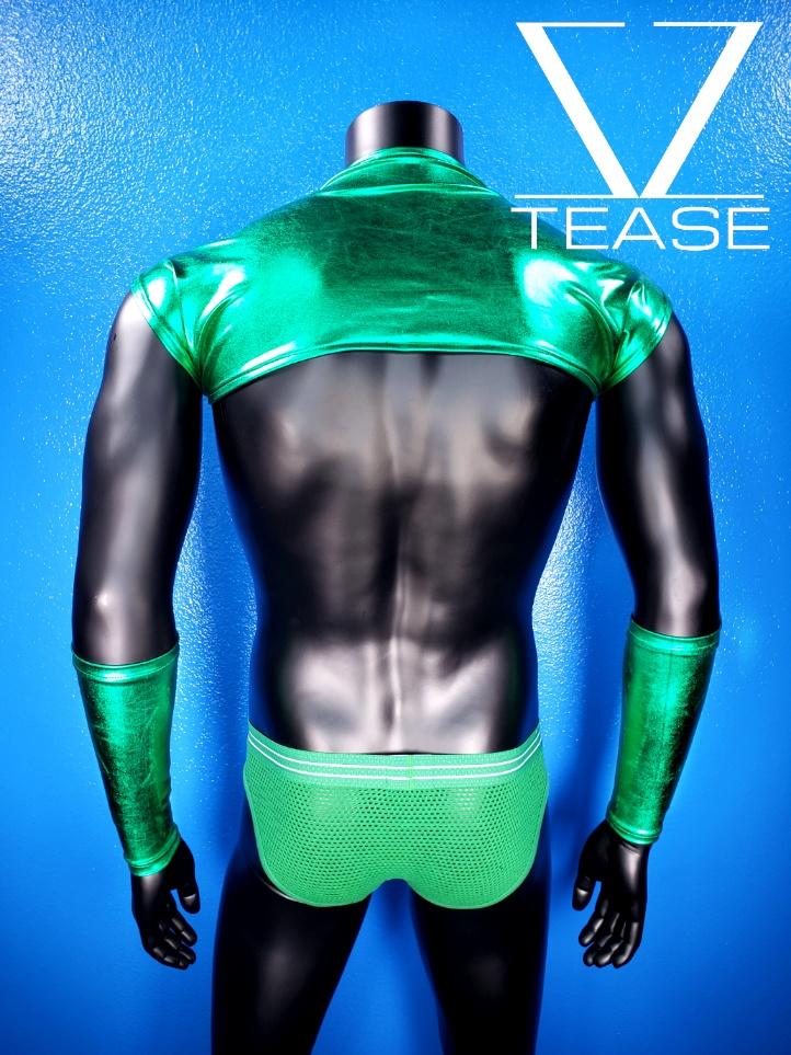 Green Metallic Men's Shoulder Shrug