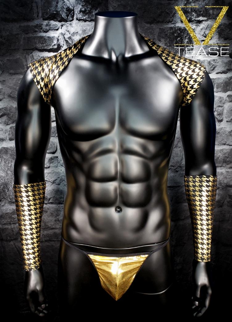 Houndstooth Black Gold Men's Shoulder Shrug