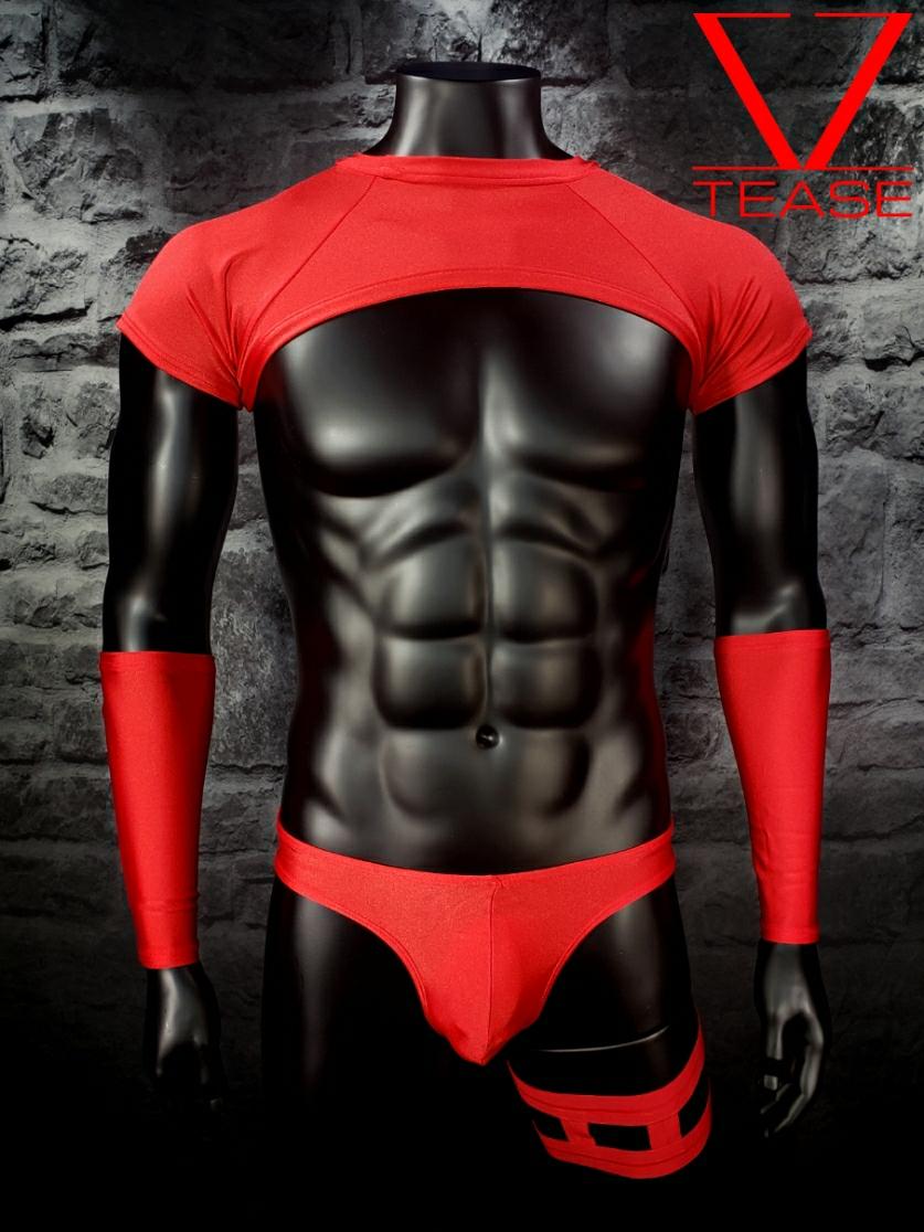Red Short Sleeves Men's Crop Top
