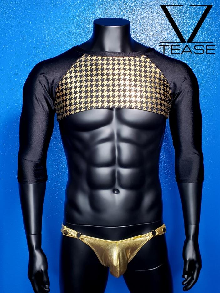 Houndstooth Black Gold Men's Crop Top