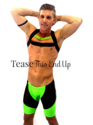 Lime Black Elastic Chest Harness Mens Club Wear