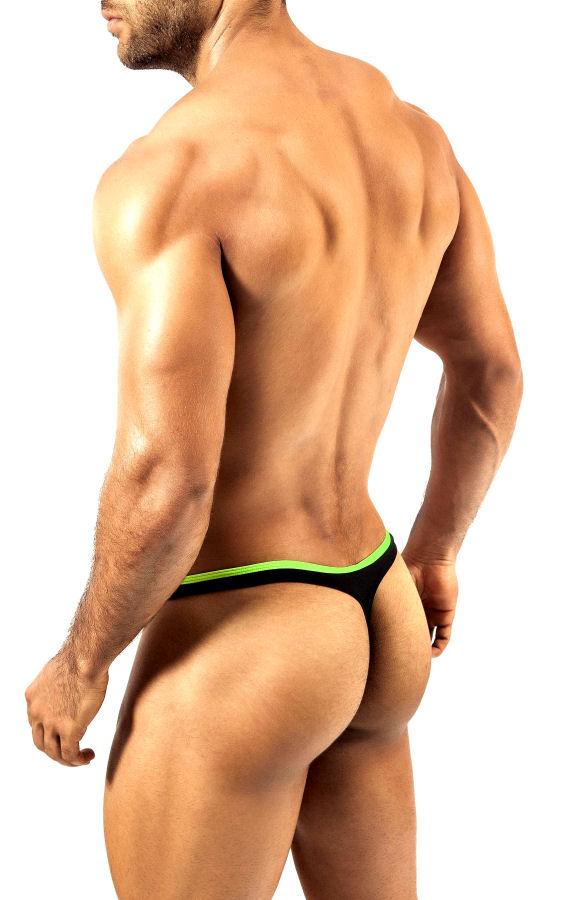Lime on Black Thong Pride Frame Underwear