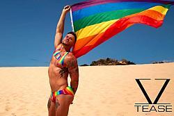 Rainbow Stripes Men's Tank Crop Top