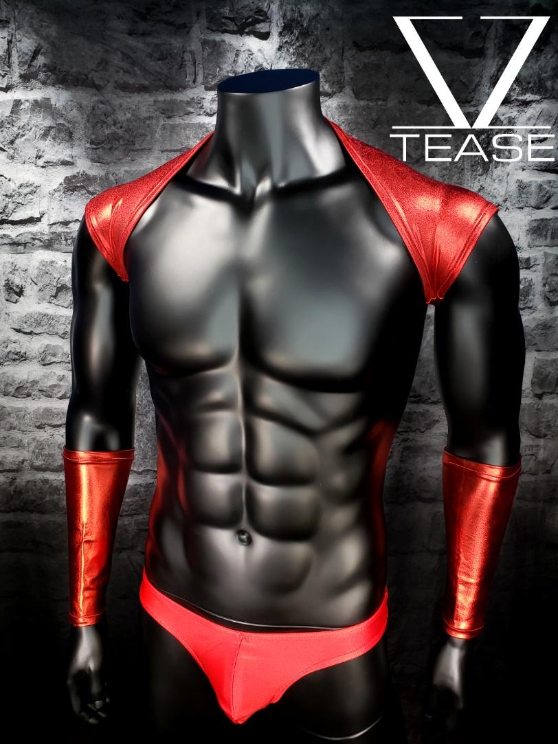 Red Metallic Men's Shoulder Shrug
