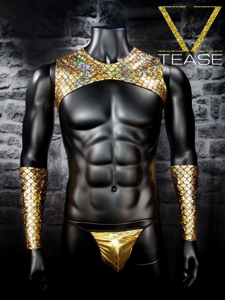 Mermaid Men's Sleeveless Gold Crop Top
