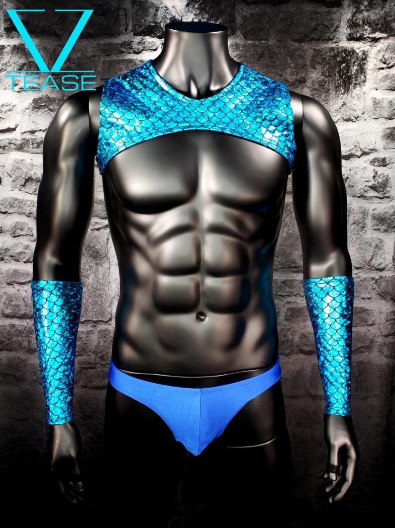 Mermaid Men's Sleeveless Turquoise Crop Top