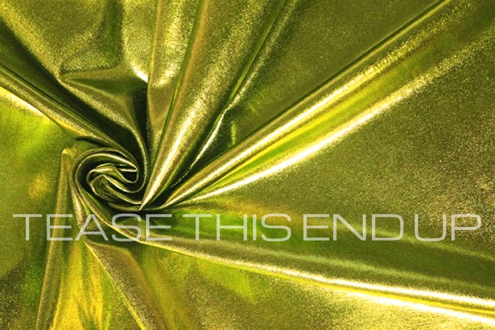 Metallic Lime Spandex 4 Way Stretch Fabric