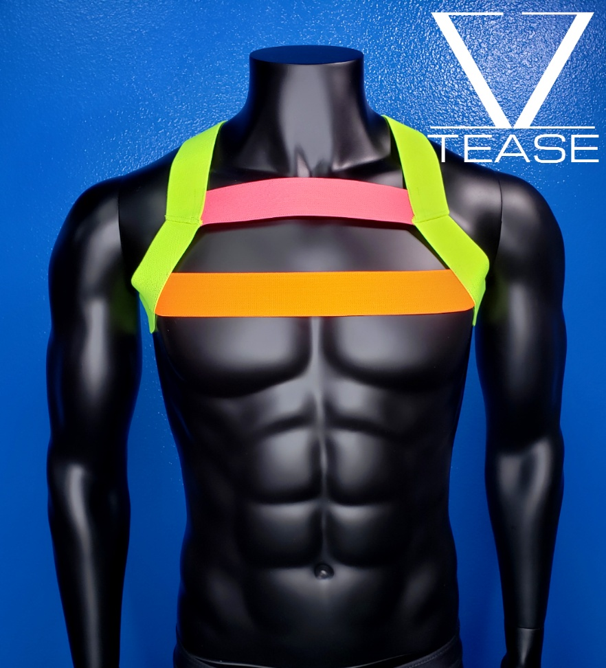Neon Highlighter Double Chest Mens Harness
