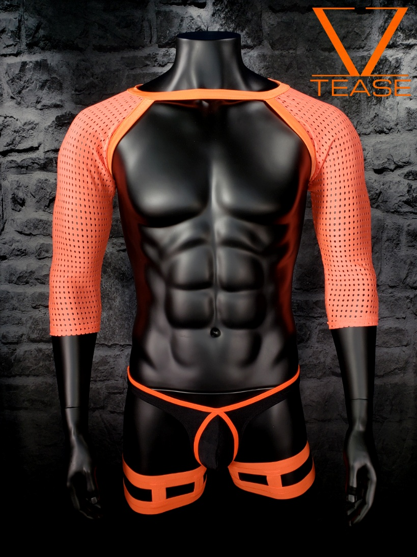 Orange Athletic Mesh Long Sleeve Shrug