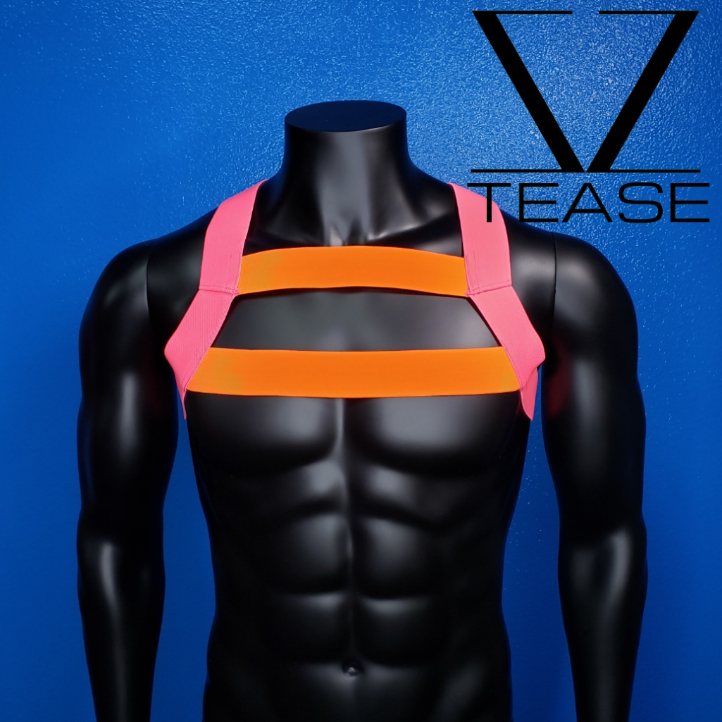 Pink Neon Orange Double Chest Mens Harness