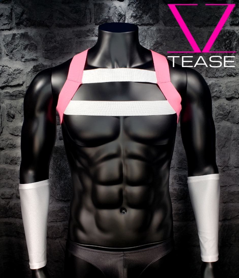 Pink White Men's Double Chest Harness