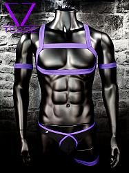 Purple Bouncer Chest Harness Club Wear