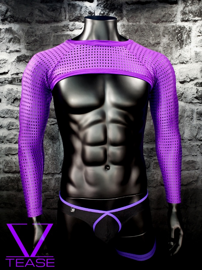Purple Athletic Mesh Men's Crop Top