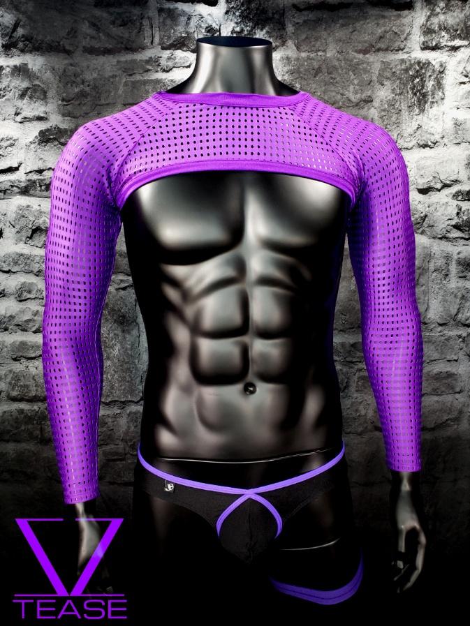 Purple Athletic Mesh Men's Crop Top