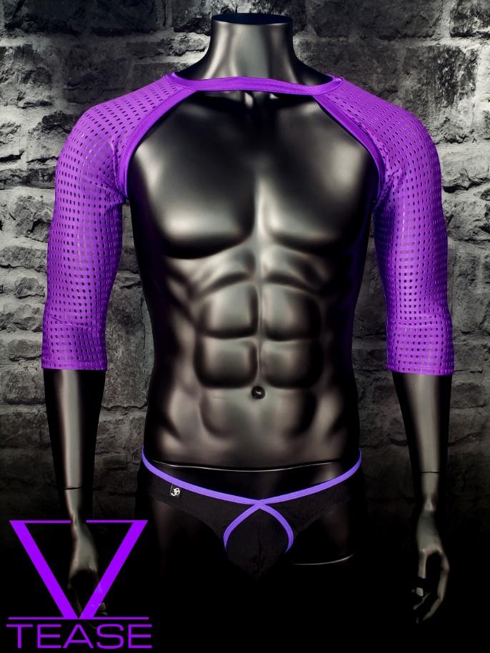 Purple Athletic Mesh Long Sleeve Shrug