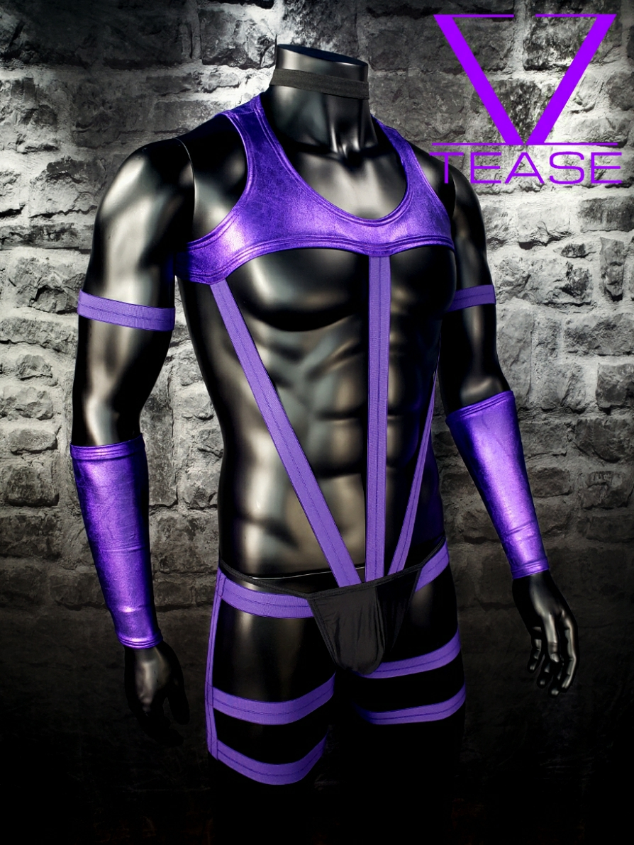 Purple Metallic Chief Men's Body Harness