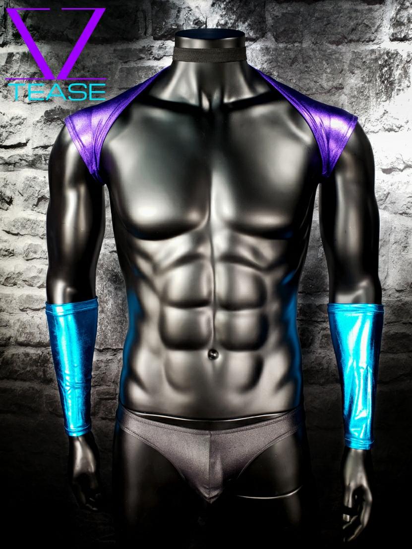 Purple Metallic Men's Shoulder Shrug