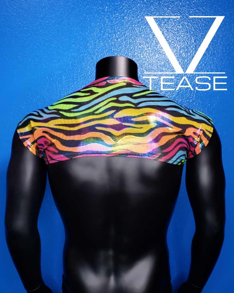 Rainbow Zebra Men's Shoulder Shrug