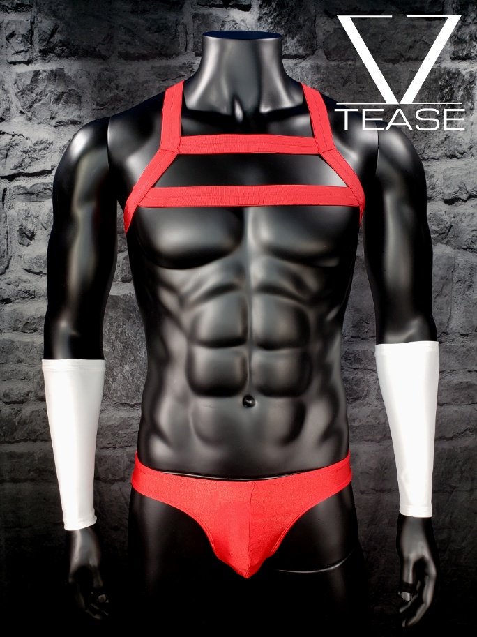Red Elastic Double Chest Harness Mens