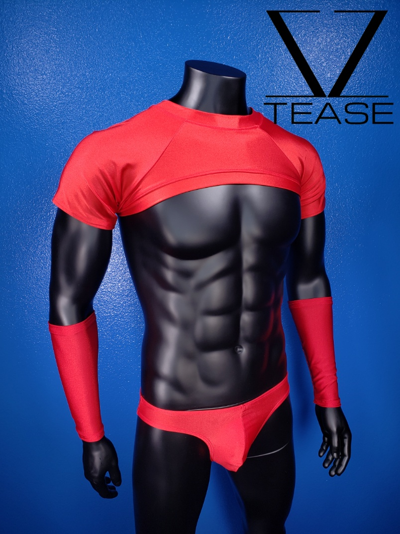 Red Short Sleeves Men's Crop Top