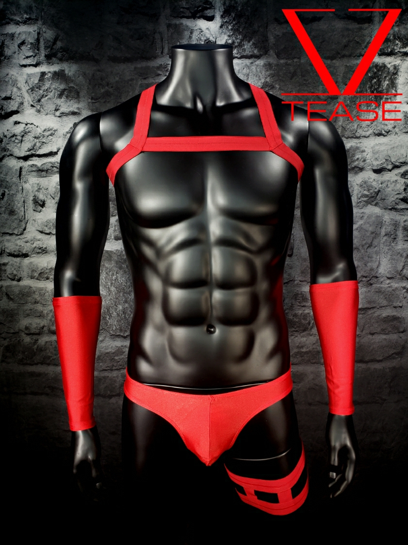 Red Single Chest Strap Men's Harness