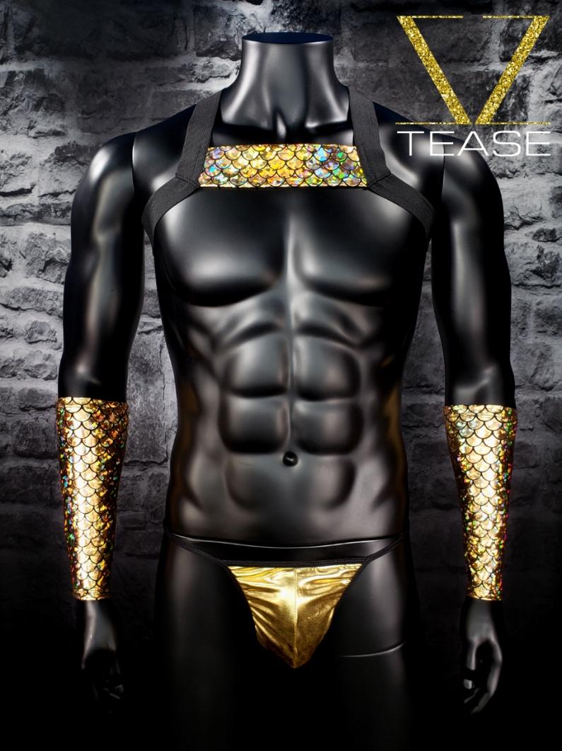 Sexy Merman Gold Men's Single Chest Harness