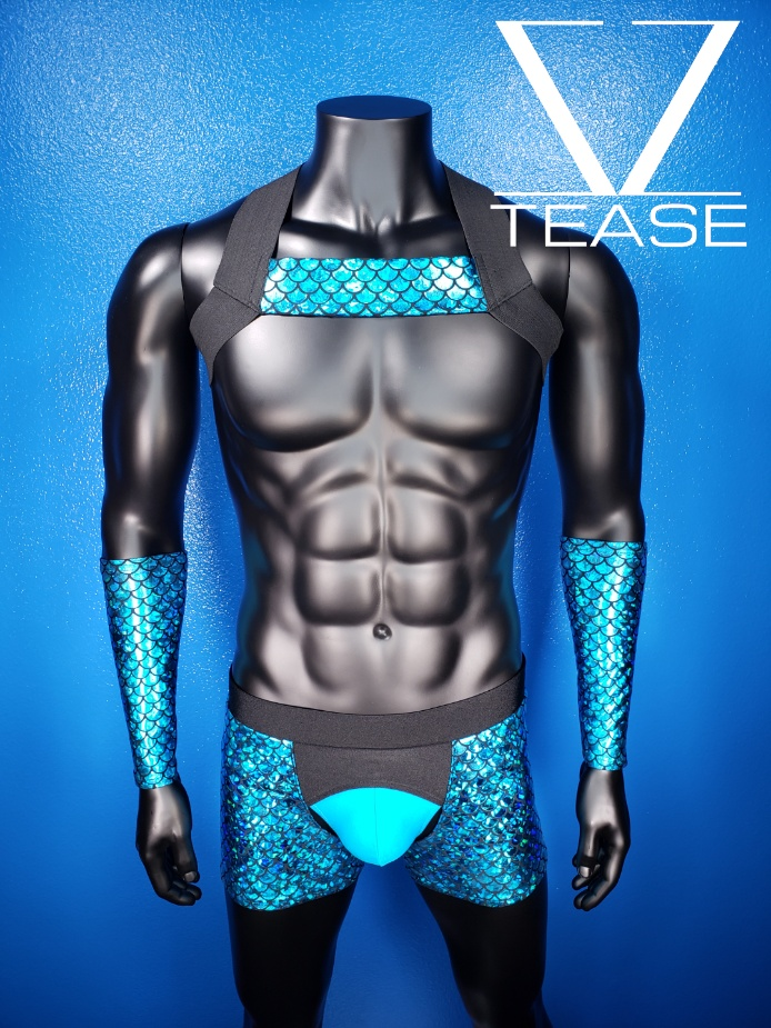 Sexy Merman Turquoise Men's Single Chest Harness