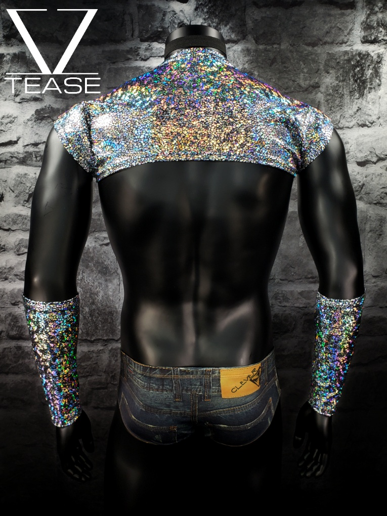 Silver Iridescent Crackle Men's Shoulder Shrug