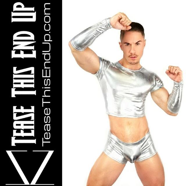 Silver Metallic Short Crop Top Men's Tee