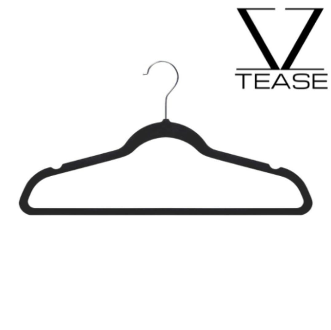 Slim Closed Black Velvet Non Slip Hanger