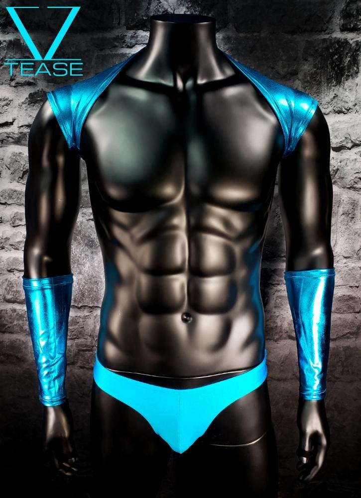 Turquoise Men's Metallic Shoulder Shrug