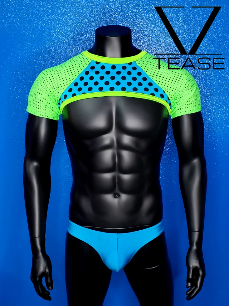 Turquoise Polka Dot Men's Mesh Lime Mesh Crop