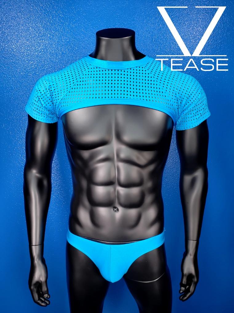 Turquoise Short Sleeves Mesh Men's Crop Top