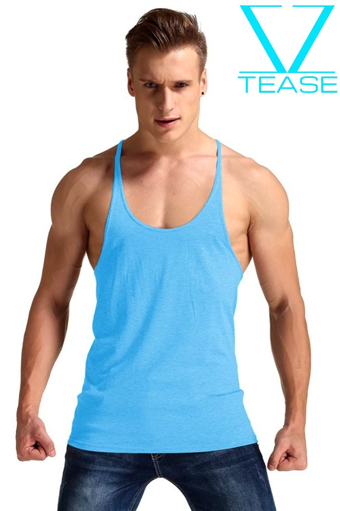 Turquoise Stringer Racerback Muscle Tank Top
