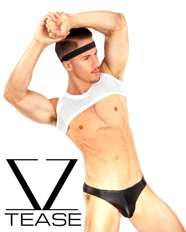 White Athletic Sleeveless Men's Crop Top