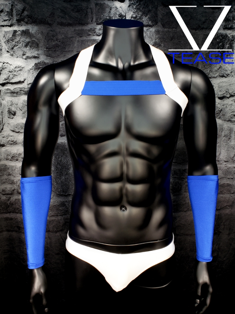 White Blue Single Chest Men's Harness